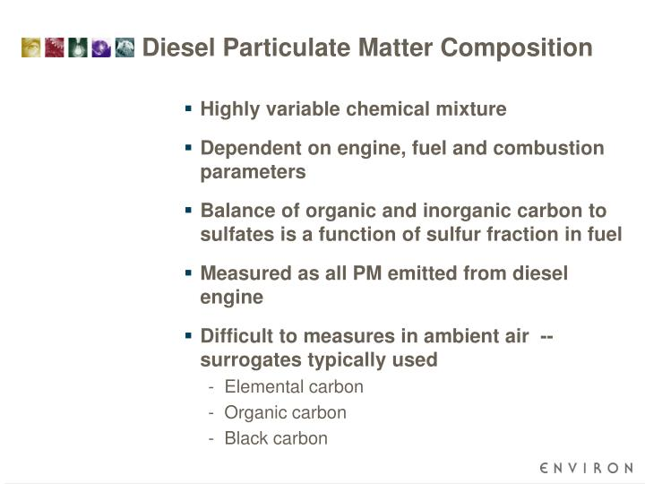 Diesel particulate matter composition
