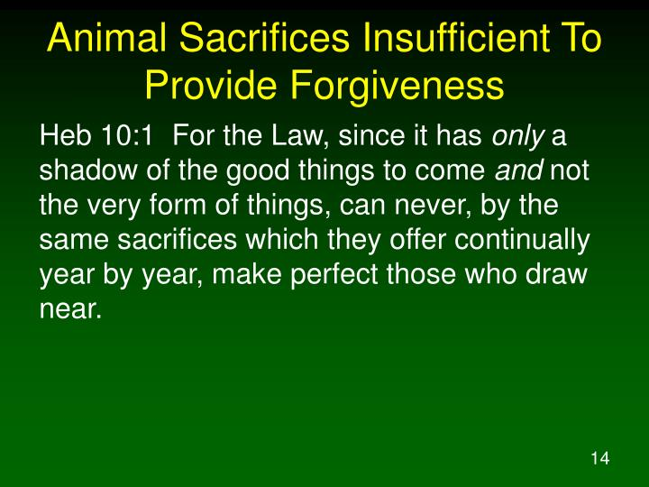 Animal Sacrifices Insufficient To Provide Forgiveness