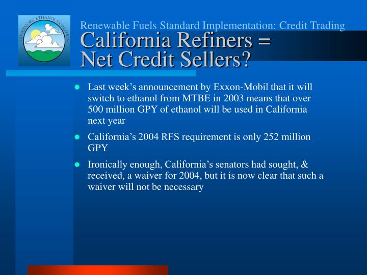 Renewable Fuels Standard Implementation: Credit Trading