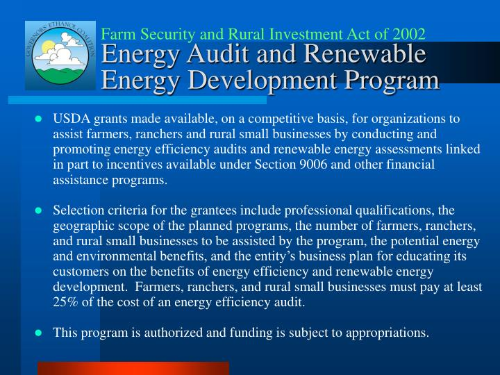 Farm Security and Rural Investment Act of 2002