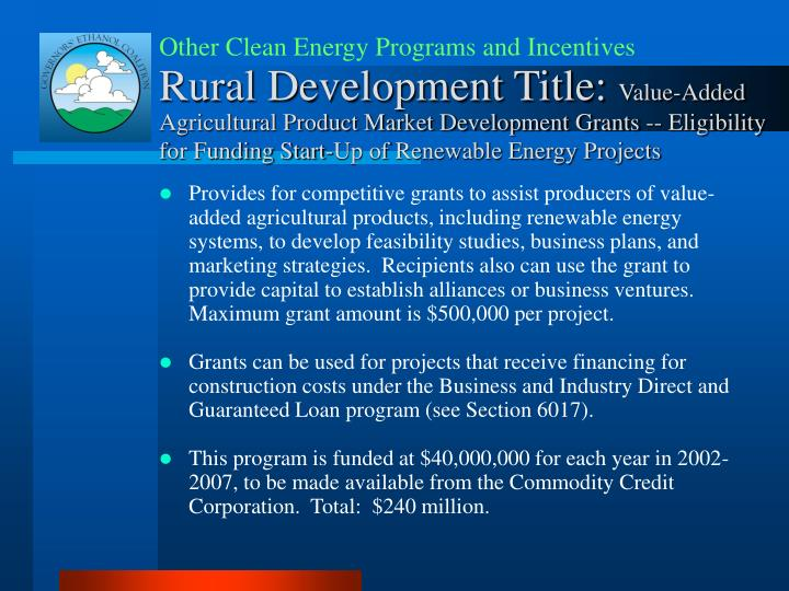 Other Clean Energy Programs and Incentives