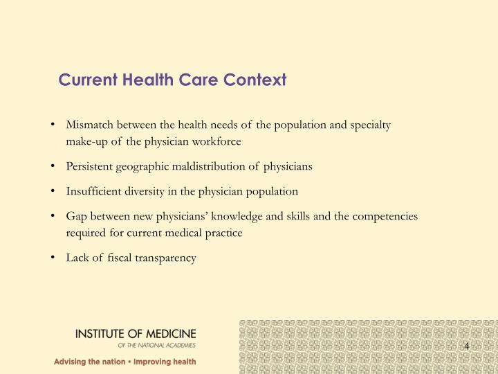 Current Health Care Context