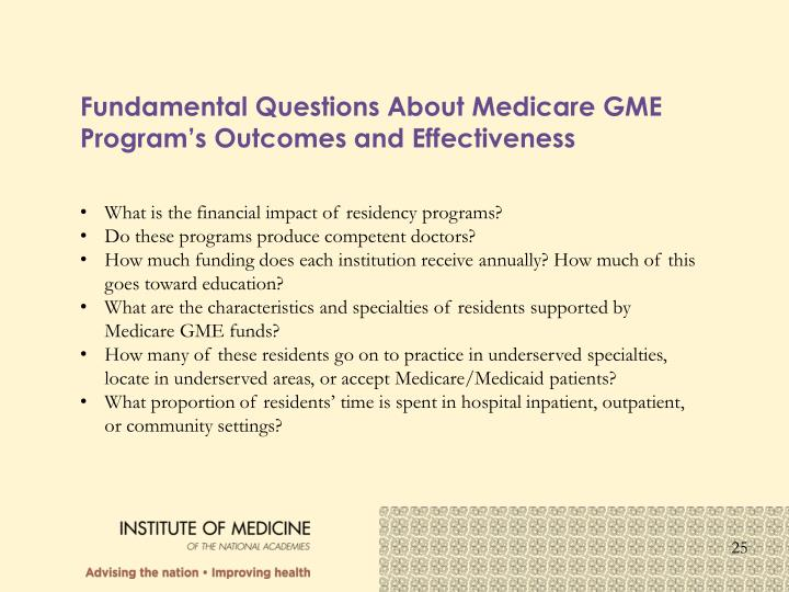 Fundamental Questions About Medicare GME Program's Outcomes and Effectiveness
