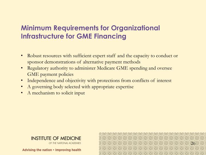 Minimum Requirements for Organizational Infrastructure for GME Financing