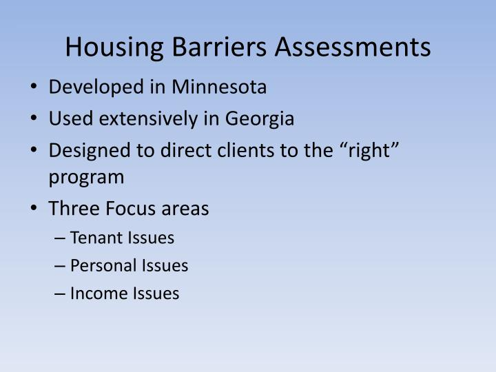 Housing Barriers Assessments
