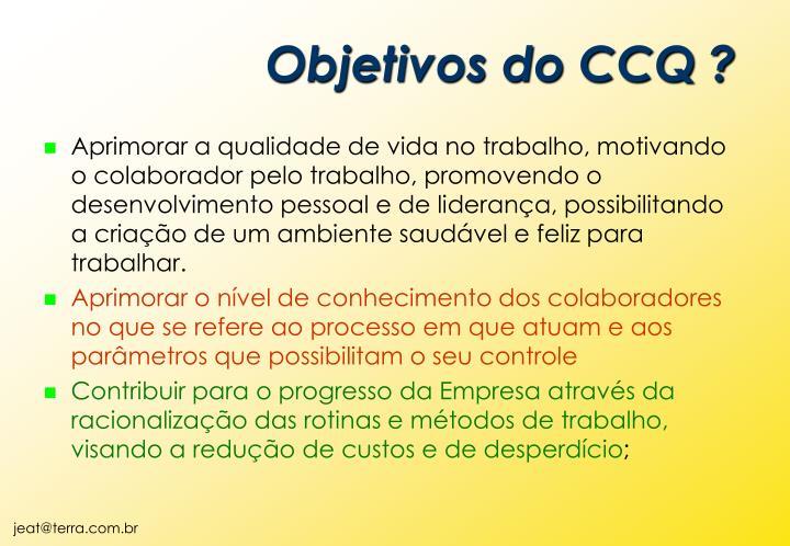 Objetivos do CCQ ?