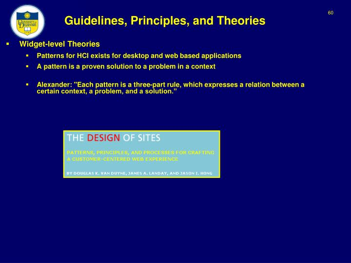 Guidelines, Principles, and Theories