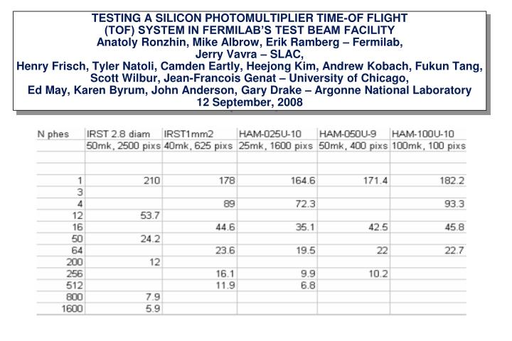TESTING A SILICON PHOTOMULTIPLIER TIME-OF FLIGHT
