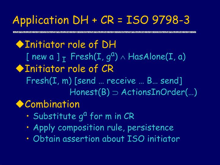 Application DH + CR = ISO 9798-3