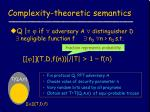 complexity theoretic semantics