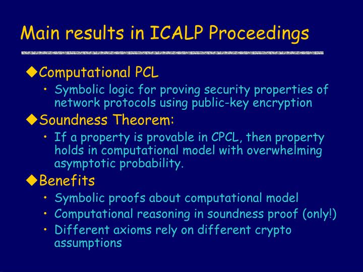 Main results in ICALP Proceedings