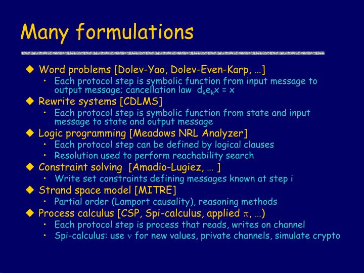 Many formulations