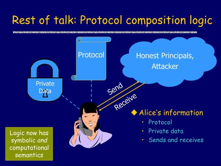 Rest of talk: Protocol composition logic