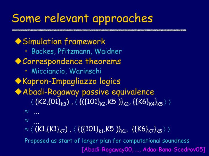 Some relevant approaches