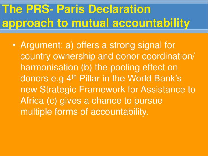 The prs paris declaration approach to mutual accountability