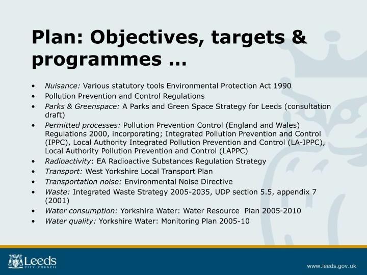 Plan: Objectives, targets & programmes …
