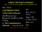 christ the burnt offering lev 1 1 17 6 8 13 cp heb 10 5 10 rom 12 1