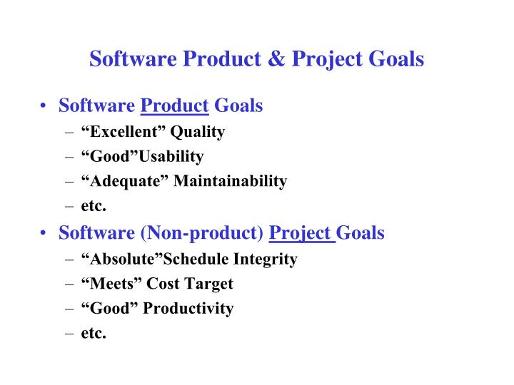 Software Product & Project Goals