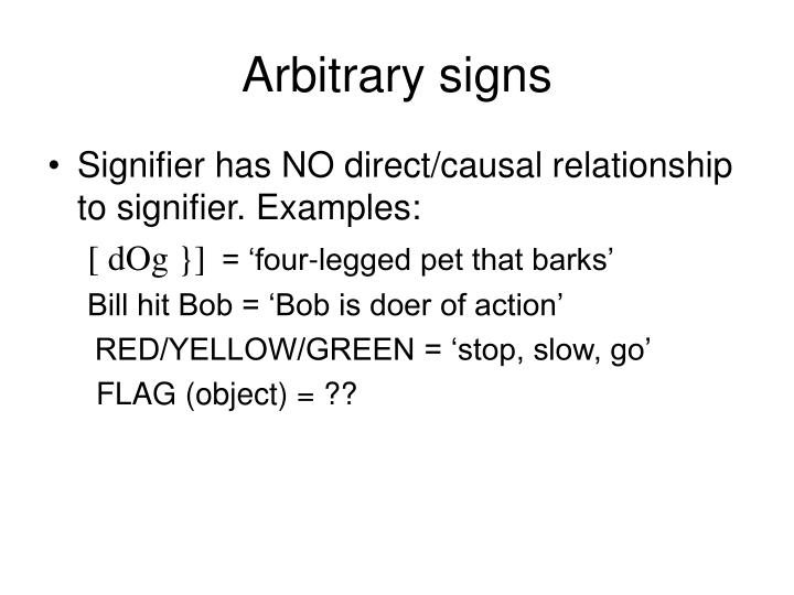 Arbitrary signs
