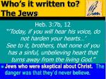 who s it written to the jews1