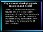 why and what developing goals questions and metrics2