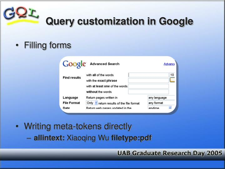 Query customization in Google