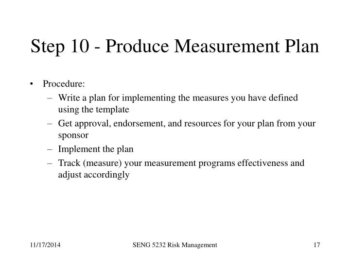 Step 10 - Produce Measurement Plan