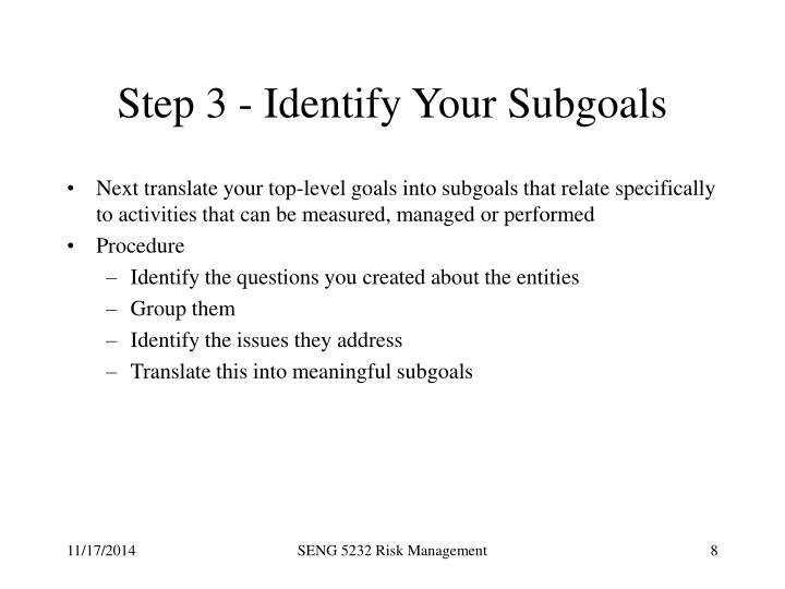 Step 3 - Identify Your Subgoals