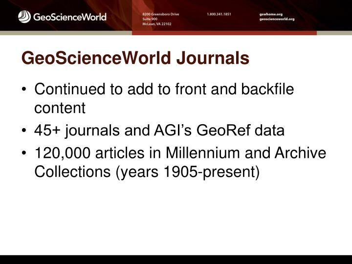 Geoscienceworld journals