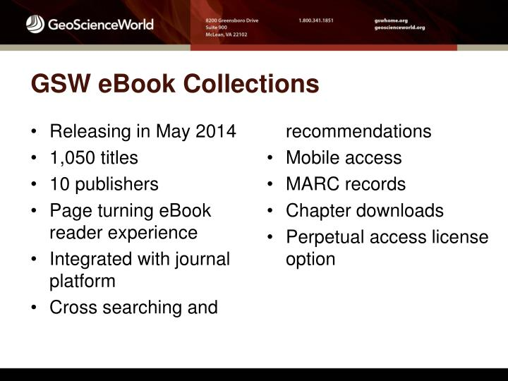 GSW eBook Collections