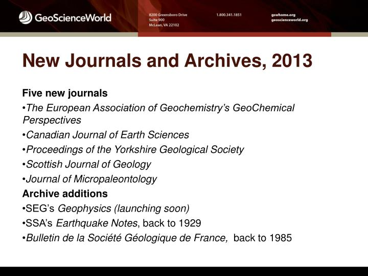 New Journals and Archives, 2013