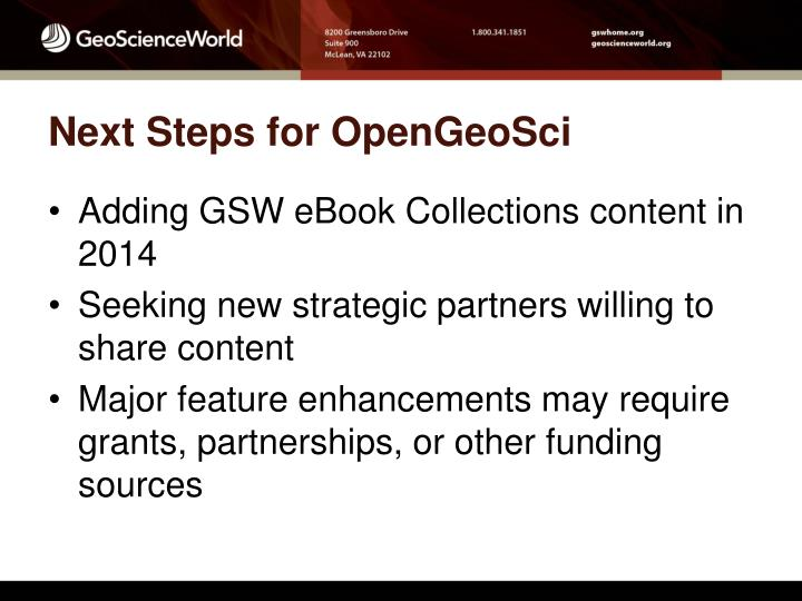 Next Steps for OpenGeoSci
