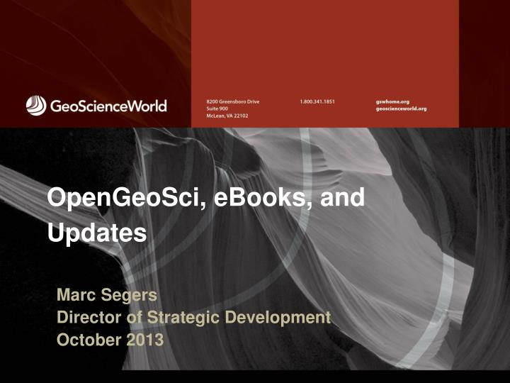 Opengeosci ebooks and updates