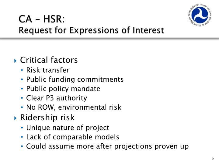 CA – HSR: