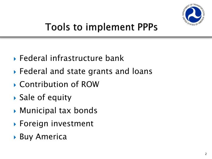 Tools to implement PPPs