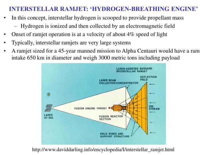 INTERSTELLAR RAMJET: 'HYDROGEN-BREATHING ENGINE'