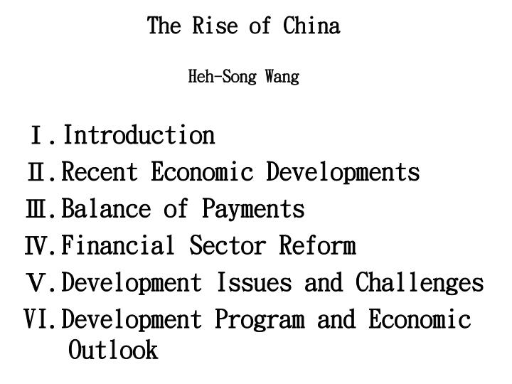 The rise of china heh song wang