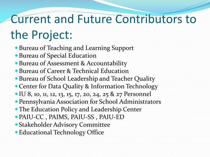 Current and Future Contributors to the Project:
