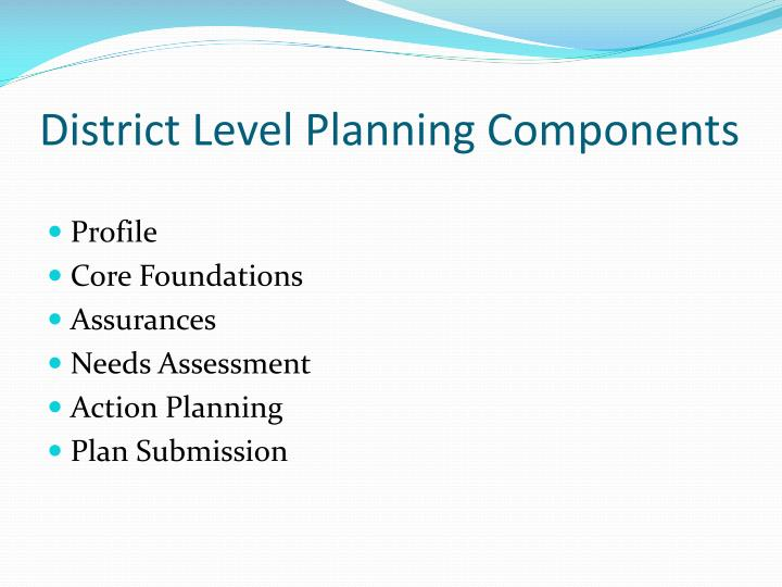 District Level Planning Components