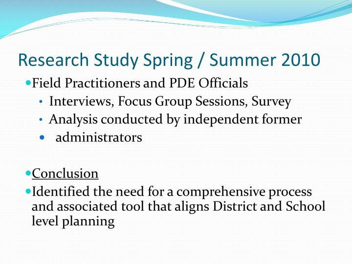 Research Study Spring / Summer 2010