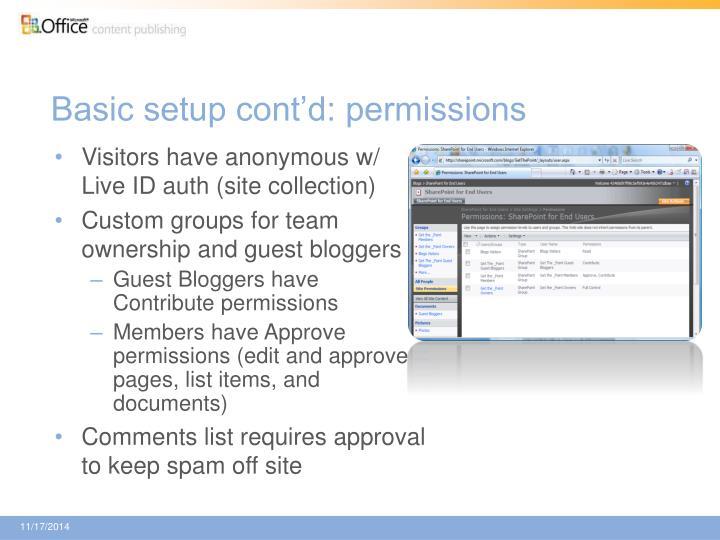 Basic setup cont'd: permissions