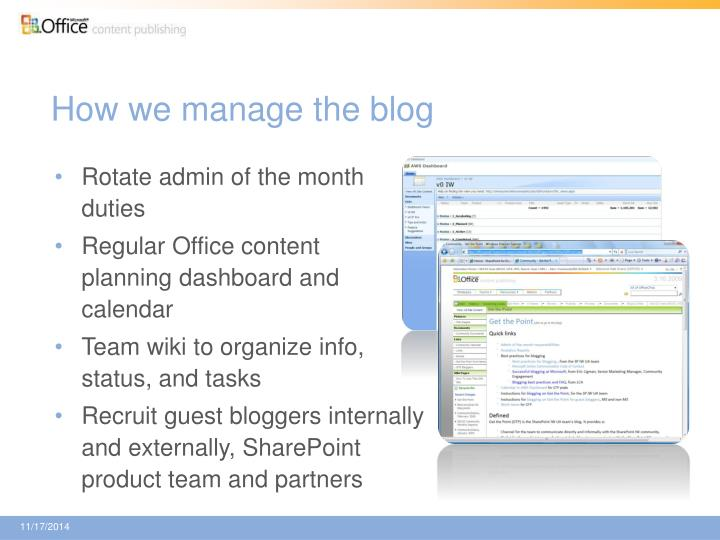 How we manage the blog