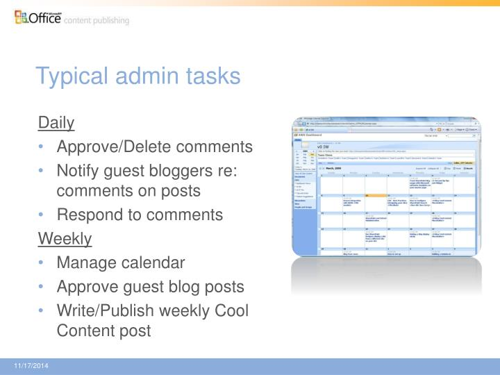 Typical admin tasks