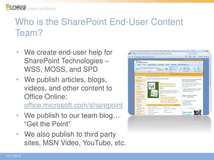 Who is the sharepoint end user content team