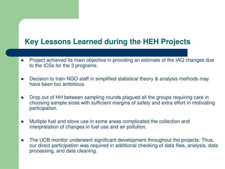 Key Lessons Learned during the HEH Projects