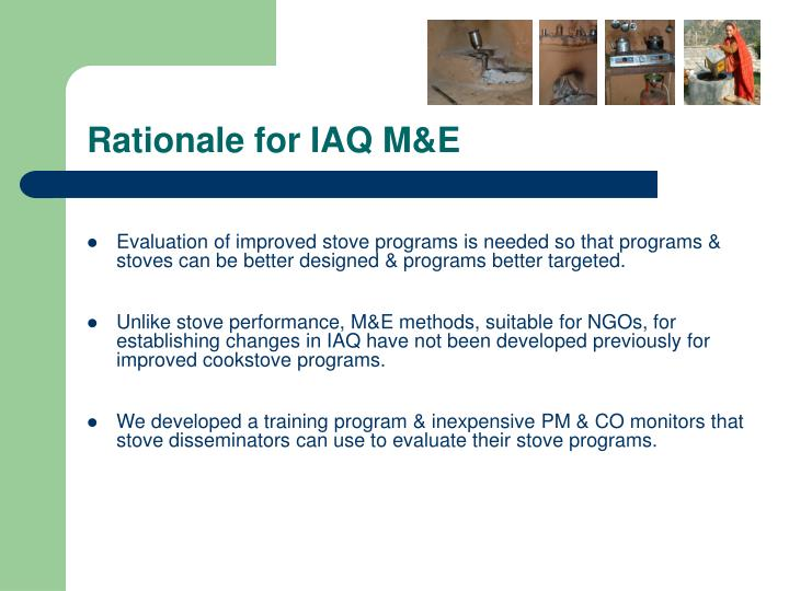 Rationale for IAQ M&E