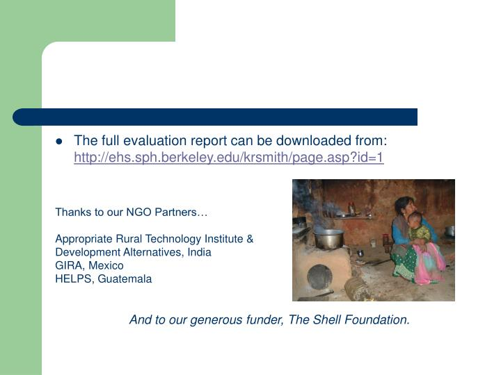 The full evaluation report can be downloaded from: