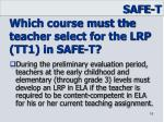 which course must the teacher select for the lrp tt1 in safe t