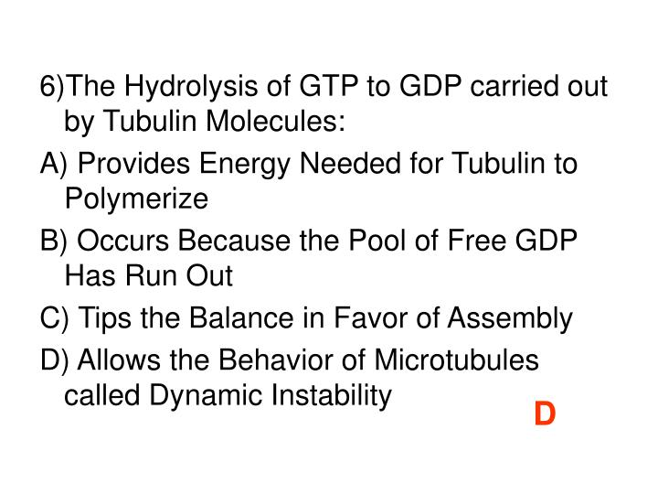 6)The Hydrolysis of GTP to GDP carried out by Tubulin Molecules: