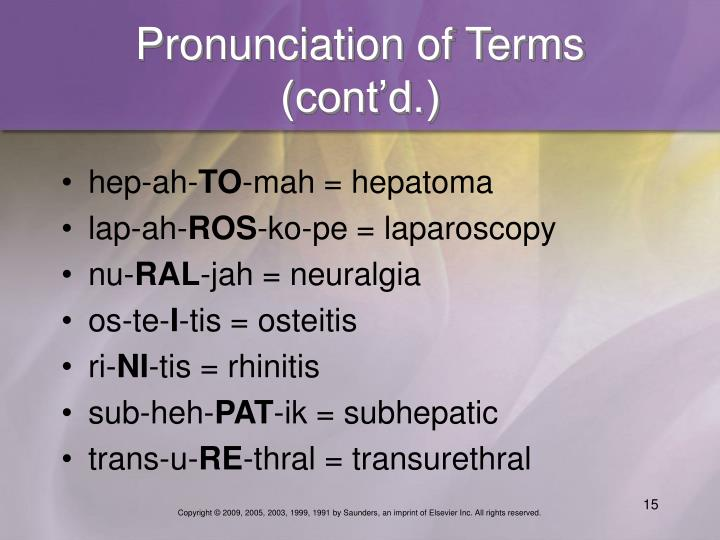 Pronunciation of Terms (cont'd.)